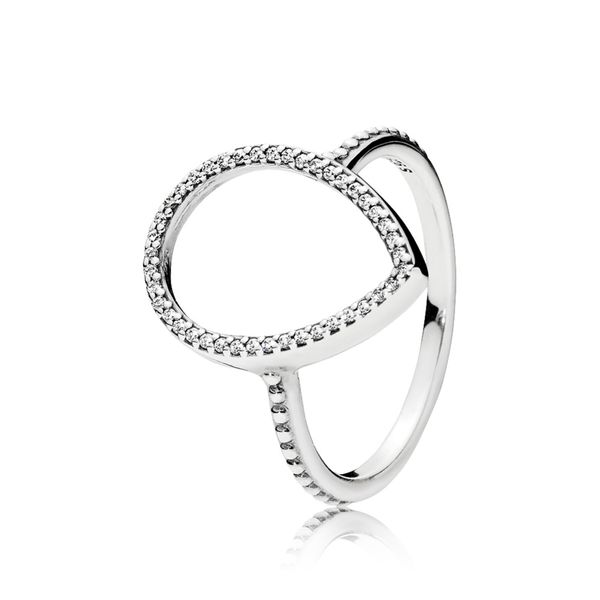 Pandora Ring in sterling silver with pear-cut clear CZ Size 7 Sanders Diamond Jewelers Pasadena, MD