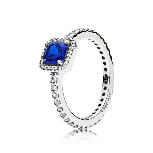 Pandora Sterling Silver With True Blue Crystal And Clear Cz Ring Size 7.5 Sanders Diamond Jewelers Pasadena, MD