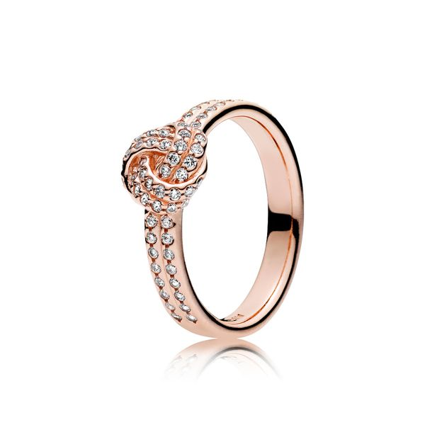 Pandora Rose Sparkling Love Knot, Clear CZ Size 7.5 Sanders Diamond Jewelers Pasadena, MD