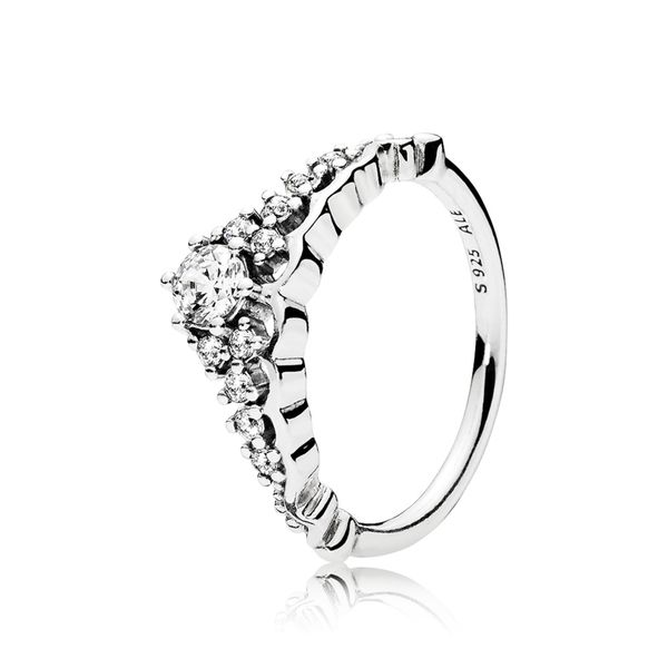 Pandora Tiara ring in sterling silver with 11 bead-set clear CZ Size 8.5 Sanders Diamond Jewelers Pasadena, MD