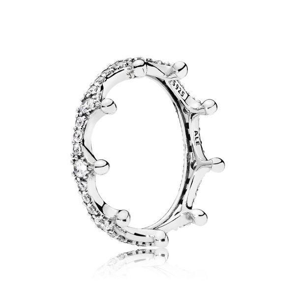 Pandora Crown ring in sterling silver with 36 bead-set clear CZ Size 5 Sanders Diamond Jewelers Pasadena, MD