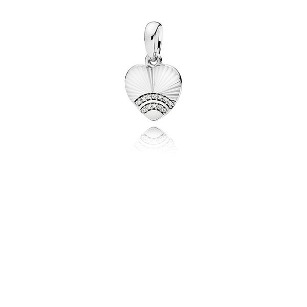 Pandora Fan of Love Clear CZ Heart pendant in SS with 12 bead-set clear CZ Sanders Diamond Jewelers Pasadena, MD