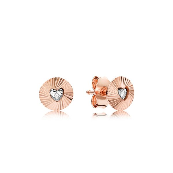 Pandora Rose Vintage Fans Clear CZ Stud earrings with 2 bezel-set heart-shaped clear CZ Sanders Diamond Jewelers Pasadena, MD