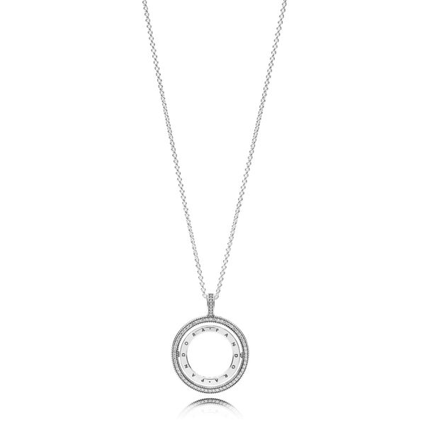 PANDORA logo spinning pendant in sterling silver with 60 cm necklace with sliding clasp Sanders Diamond Jewelers Pasadena, MD