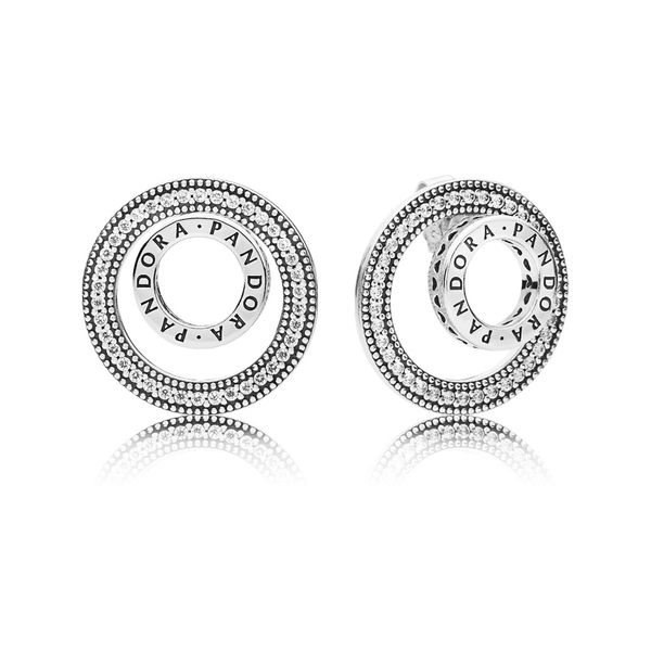 PANDORA logo stud earrings in sterling silver with detachable earring jackets with 76 bead-set clear CZ Sanders Diamond Jewelers Pasadena, MD