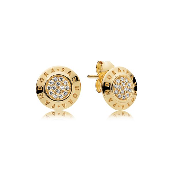 Pandora Logo Stud Earrings In Shine With 28 Pave-Set Clear Cz Sanders Diamond Jewelers Pasadena, MD