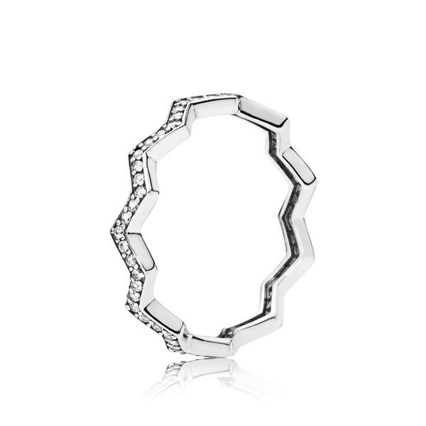 Pandora Zigzag ring in sterling silver with 80 micro bead-set clear CZ Size 9 Sanders Diamond Jewelers Pasadena, MD