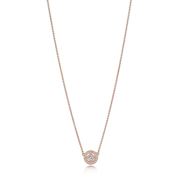 Pandora Rose Collier necklace with milgrain details, 21 bead-set clear CZand 45 cm necklace, adjustable to 42 cm and 38 cm Sanders Diamond Jewelers Pasadena, MD