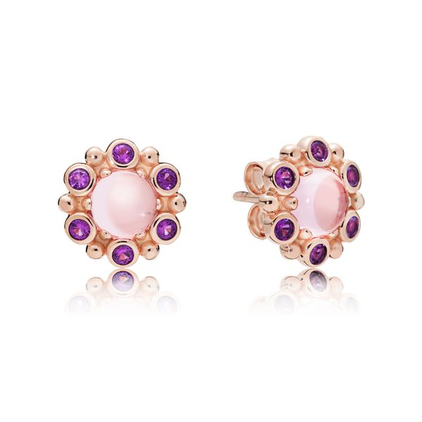 Pandora Rose Stud earrings with 2 claw-set cabochon-cut pink mist crystals and 12 bezel-set royal purple crystals Sanders Diamond Jewelers Pasadena, MD