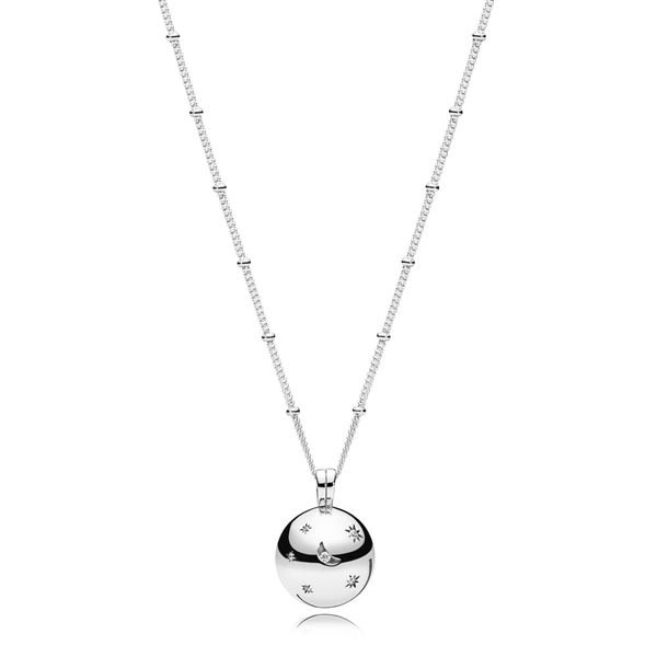 Pandora Moon and star openable pendant in sterling silver with engraving