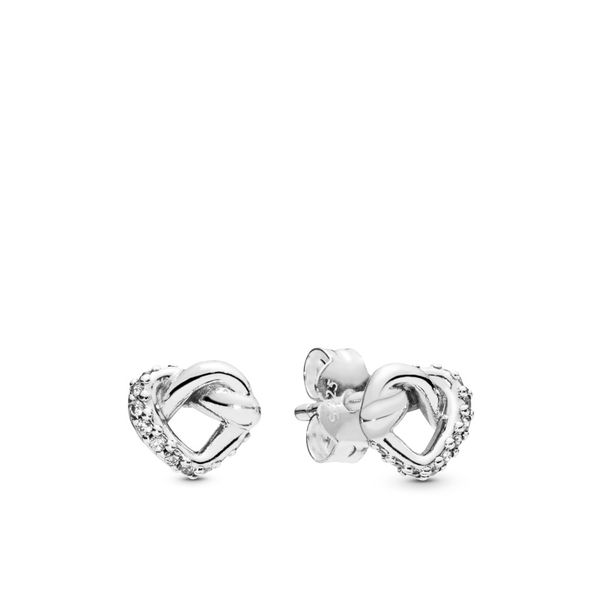 Pandora Knotted hearts silver stud earrings with clear CZ Sanders Diamond Jewelers Pasadena, MD