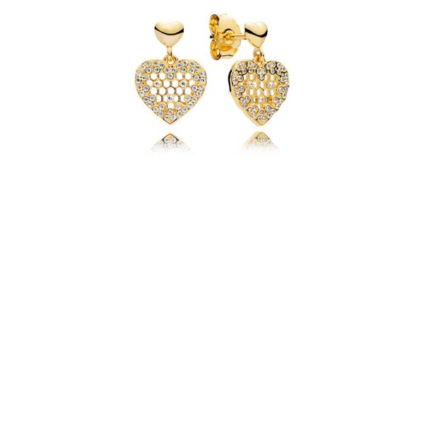 Pandora Shine Heart Earrings With 100 Micro Flush-Set And 6 Bead-Set Clear Cz Sanders Diamond Jewelers Pasadena, MD