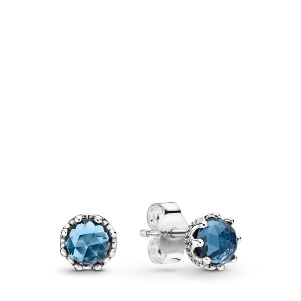 Pandora Crown sterling silver stud earrings with moonlight blue crystal Sanders Diamond Jewelers Pasadena, MD