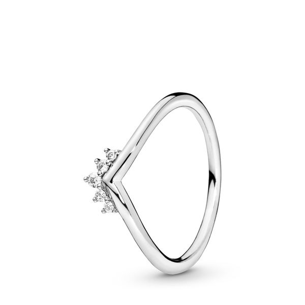 Pandora Tiara Wishbone Sterling Silver Ring With Clear Cz Size 8.5 Sanders Diamond Jewelers Pasadena, MD