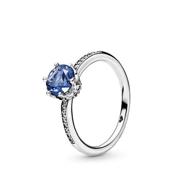 Pandora Crown sterling silver ring with stonewash blue crystal and clear CZ Size 7 Sanders Diamond Jewelers Pasadena, MD