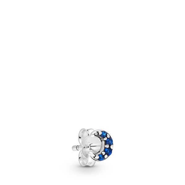 Pandora Me Collection Crescent moon sterling sterling silver stud earring with true blue crystal Sanders Diamond Jewelers Pasadena, MD