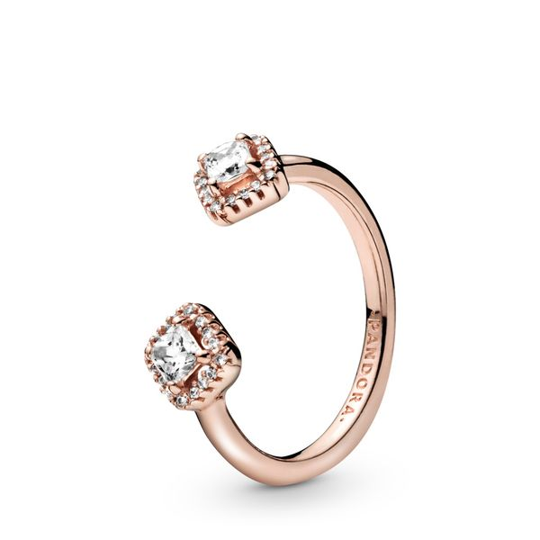 Pandora Rose open ring with clear CZ Size 7 Sanders Diamond Jewelers Pasadena, MD