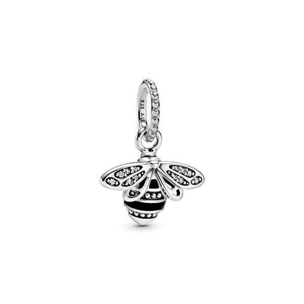 Pandora Bee sterling silver pendant with clear CZ and black enamel Sanders Diamond Jewelers Pasadena, MD
