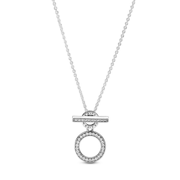 Pandora Sterling Silver Signature Double Hoop T-Bar  necklace with clear CZ 17.7