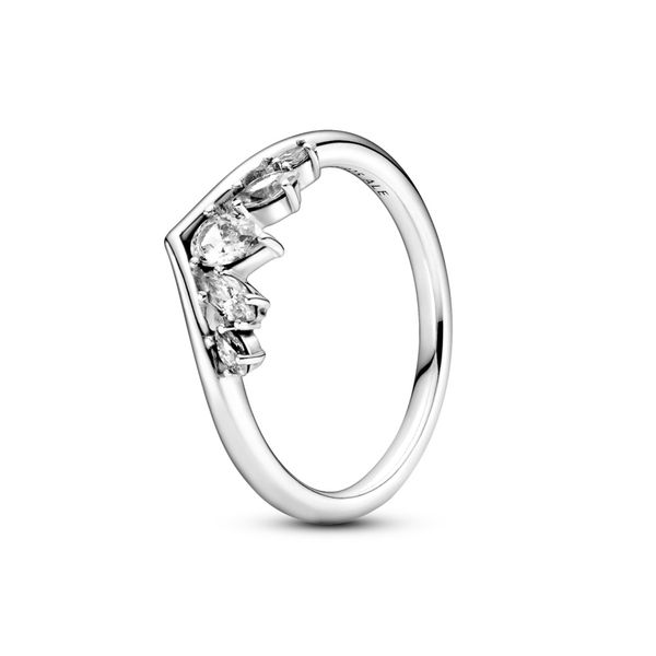 Pandora Wishbone Sterling Silver Ring With Clear Cz Size 8.5 Sanders Diamond Jewelers Pasadena, MD