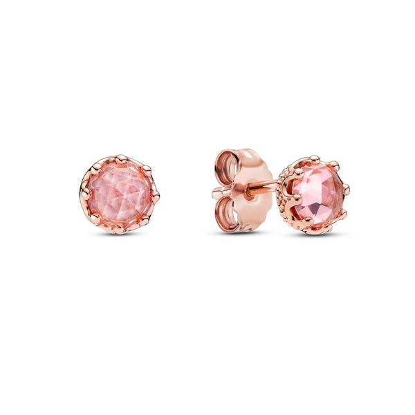 Pandora Rose Crown stud earrings with blush pink crystal Sanders Diamond Jewelers Pasadena, MD