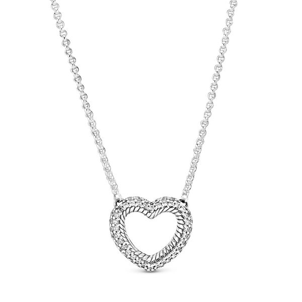 Pandora Snake chain pattern heart sterling silver collier with clear CZ 17.7