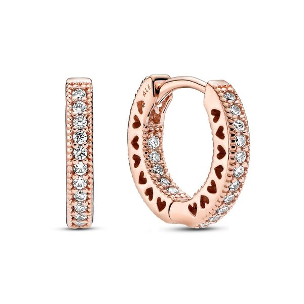 Pandora Rose hoop earrings with clear CZ Sanders Diamond Jewelers Pasadena, MD