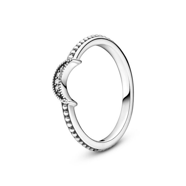 Pandora Crescent Moon Sterling Silver Ring Size 7 Sanders Diamond Jewelers Pasadena, MD