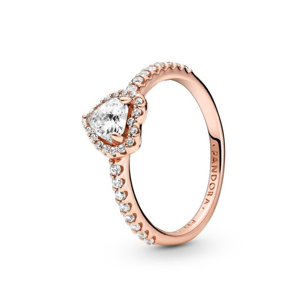 Pandora Rose Heart Ring With Clear Cz Size 8.5 Sanders Diamond Jewelers Pasadena, MD