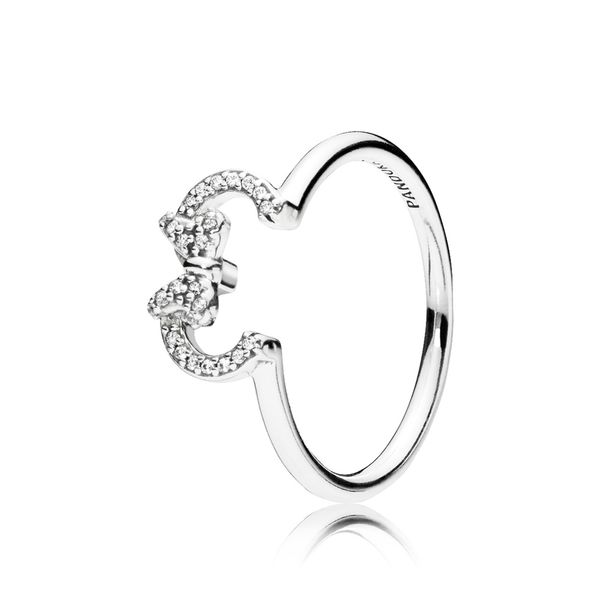 Pandora Disney Minnie Ring In Sterling Silver With 26 Micro Bead-Set Clear Cz Size 7.5 Sanders Diamond Jewelers Pasadena, MD