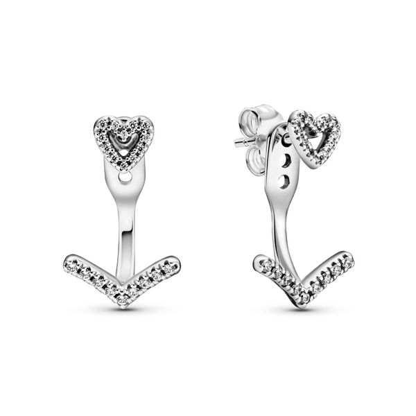 Heart sterling silver stud earrings with wishbone jacket with 3 different lengths Sanders Diamond Jewelers Pasadena, MD