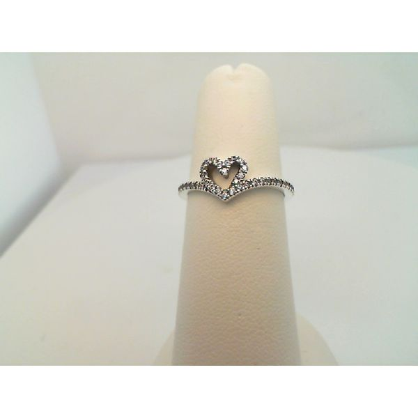 Pandora Heart And Wishbone Sterling Silver Ring Size 6 Sanders Diamond Jewelers Pasadena, MD