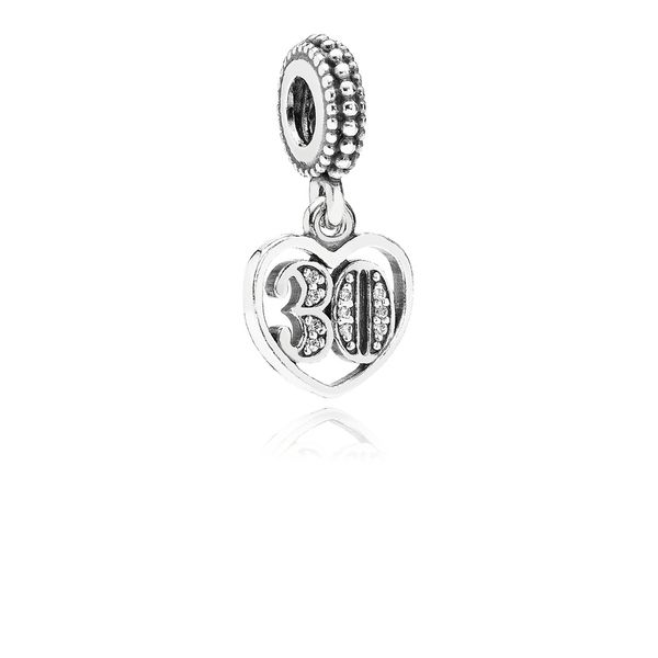 Pandora 30 Years of Love, Clear CZ Charm for Pandora Moments Bracelet Sanders Diamond Jewelers Pasadena, MD