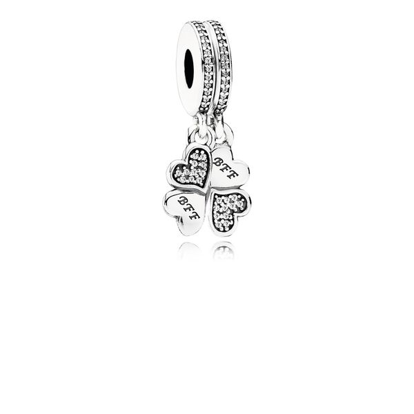Pandora Best Friends Forever Heart Dangle with Clear CZ for Pandora Moments Bracelet Sanders Diamond Jewelers Pasadena, MD