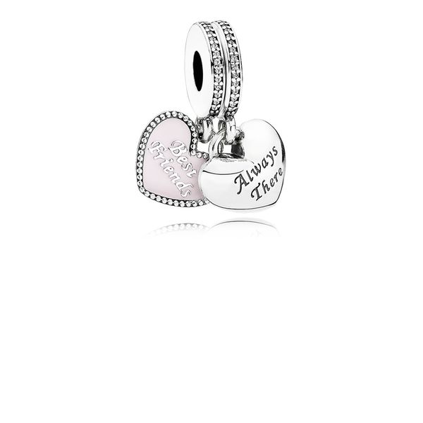 Pandora Best Friends Two Piece Heart Dangle with Soft Pink Enamel and Clear CZ Sanders Diamond Jewelers Pasadena, MD