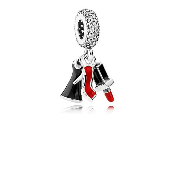 Pandora Sterling Silver Charm With Stiletto, Dress, Lipstick, Clear Cz, Red And Black Enamel Sanders Diamond Jewelers Pasadena, MD