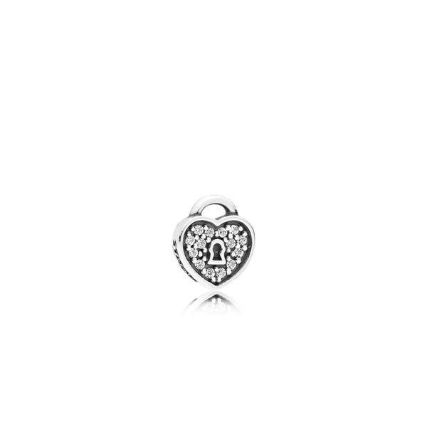 Pandora Heart padlock petite element in sterling silver with 14 micro bead-set clear CZ for Pandora Floating Locket *Retired* Sanders Diamond Jewelers Pasadena, MD