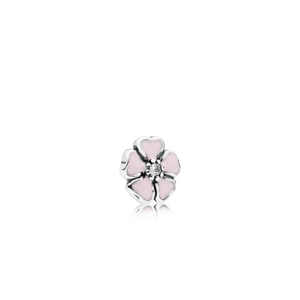 Pandora Cherry blossom petite element in sterling silver with 1 bead-set clear CZ and soft pink enamel for Pandora Floating Lock Sanders Diamond Jewelers Pasadena, MD