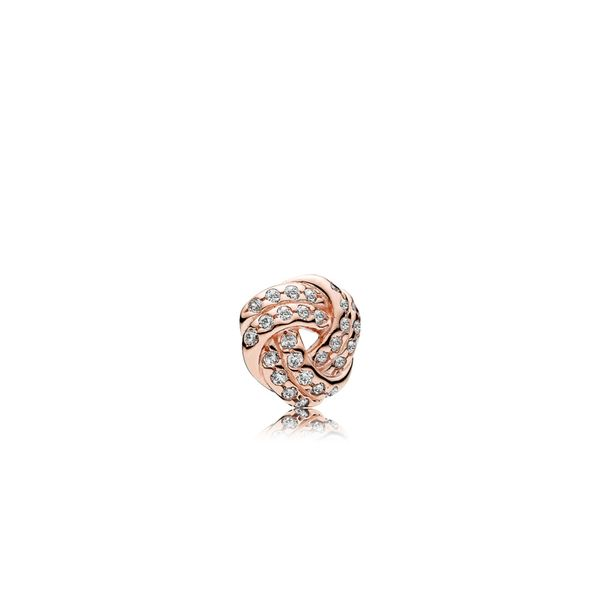 Pandora Rose Love knot petite element with 27 bead-set clear CZ for Pandora Floating Locket *Retired* Sanders Diamond Jewelers Pasadena, MD