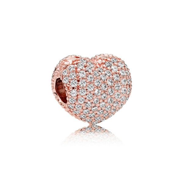 Pandora Rose Heart clip with 142 pave' set clear CZ Sanders Diamond Jewelers Pasadena, MD