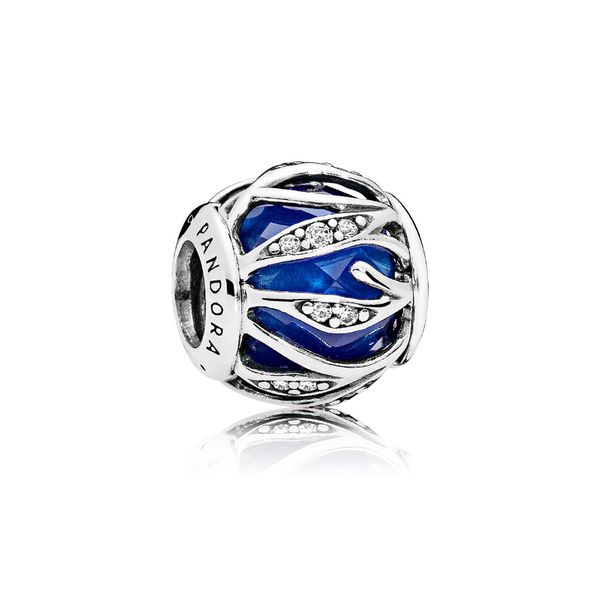 Pandora Sterling Silver With Encased Faceted Royal Blue Crystal And Clear Cz Charm *Retired* Sanders Diamond Jewelers Pasadena, MD