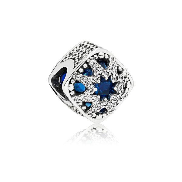 Pandora Sterling Silver Abstract with Swiss blue crystals and clear CZ charm Sanders Diamond Jewelers Pasadena, MD