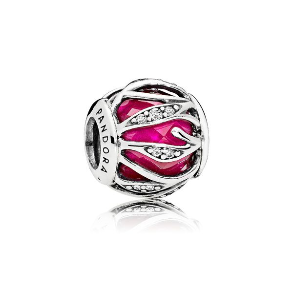 Pandora sterling silver encased faceted synthetic ruby and clear CZ charm *Retired* Sanders Diamond Jewelers Pasadena, MD