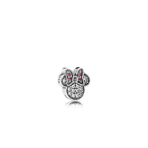 Pandora Disney Minnie silhouette petite element in sterling silver with red and clear CZ for Pandora Floating Locket Sanders Diamond Jewelers Pasadena, MD
