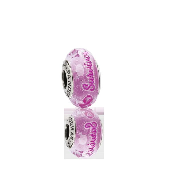 Pandora Sterling Silver Survivor BCA Pink Marono Glass charm Sanders Diamond Jewelers Pasadena, MD