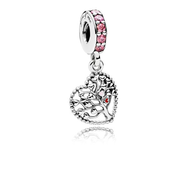 Pandora Heart silver dangle with red, pink enamel and mixed pink stones Sanders Diamond Jewelers Pasadena, MD