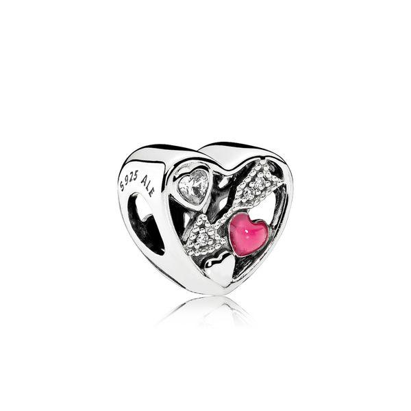 Pandora Sterling Silver Charm Struck by Love with Magenta Enamel and CZ Sanders Diamond Jewelers Pasadena, MD
