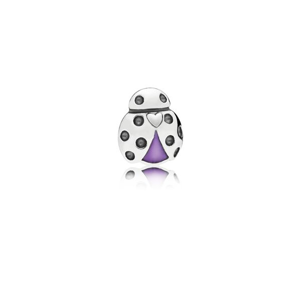 Pandora Ladybug petite element in sterling silver with transparent purple enamel for Pandora Floating Locket *Retired* Sanders Diamond Jewelers Pasadena, MD