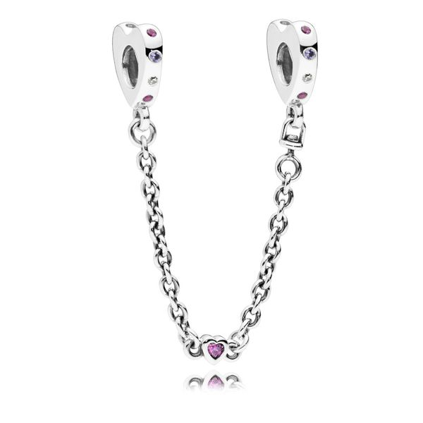 Pandora Bright Hearts, Multi-Colored Crystals & CZ Heart silver safety chain Sanders Diamond Jewelers Pasadena, MD