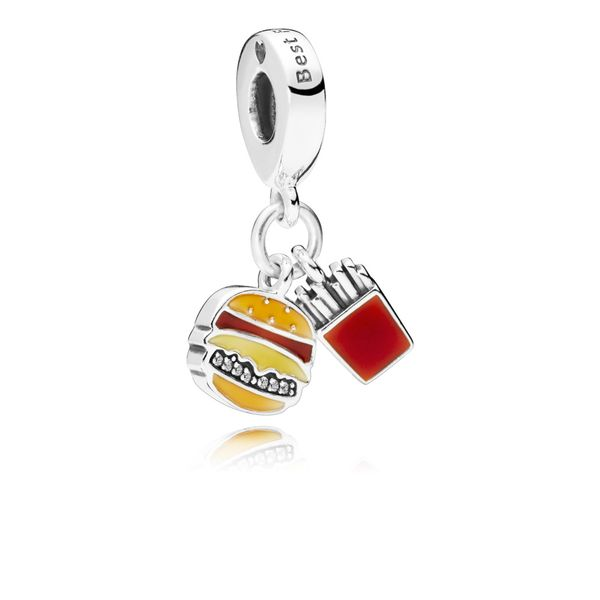 Pandora Burger Fries Mixed Enamel Burger and fries dangle in sterling silver with engraving Best friends charm Sanders Diamond Jewelers Pasadena, MD